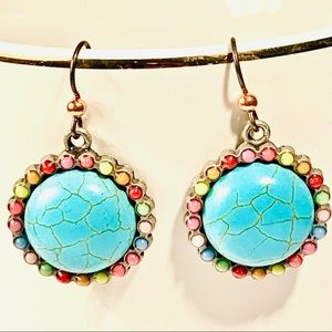Colorful Turquoise Circle Earrings